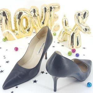 Manolo Blahnik A 40 1/2 Black Leather Heel Italy
